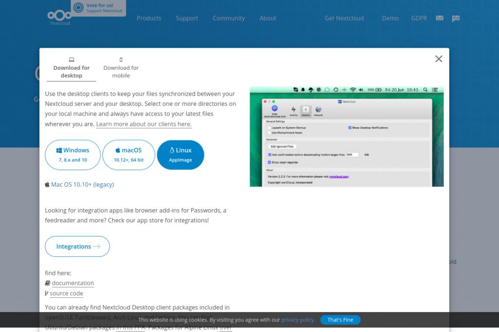 Téléchargement du client Nextcloud
