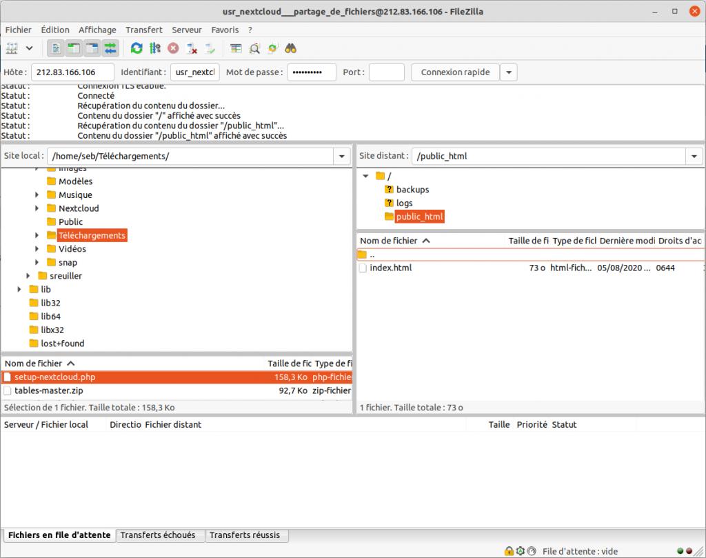 Transfert de fichiers vers le FTP avec Filezilla